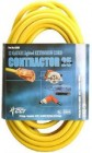 12/3 25' Yellow Contractor Extension Cord w/ Lighted End(USA MADE)
