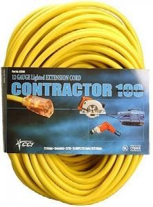 12/3 100' Yellow Contractor Extension Cord w/Lighted End(USA MADE)
