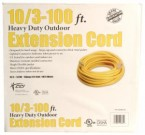 10/3 100' Yellow Contractor Extension Cord w/Lighted End