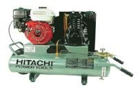 Hitachi 5-1/2 HP Gas Twin Tank Air Compressor, Oil Lubricated