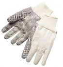 10oz Heavy Duty Cotton Canvas Gloves w/ Black PVC Dots (12 Pairs)