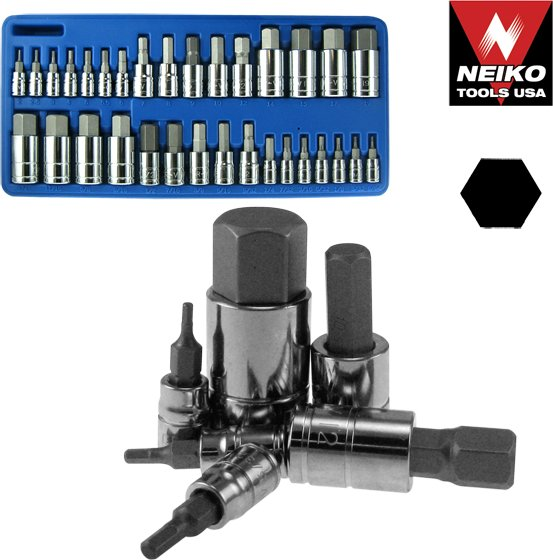 32PC Master SAE/Metric Hex Bit Socket Set