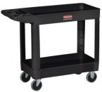 Rubbermaid Black 2-Shelf Utility Mobile Cart