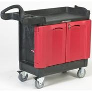 Rubbermaid Black TradeMaster Small Mobile Cart w/ 2-Door Cabinet