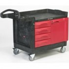 Rubbermaid Black TradeMaster Small Mobile Cart w/4-Drawer & Cabinet