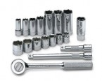 "SK 18PC 3/8""Dr 6pt Standard & Deep Fractional Socket Set"