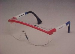 Clear Red/White/Blue-Frame Protective Spectacles  (10 Glasses)